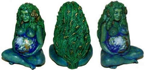 A three angle view of Gaia the Earth Mother, a statue by the award winning artist Oberon Zell.