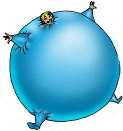Cartoon image drawn by Spectre of Bigtime. A short haired blonde girl in a light sky blue stretch suit has been inflated into a giant floating sphere. She is smiling happily while floating along.